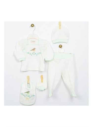 Bebbek Bebbek First Love Kız Bebek 5'Li Hastane Çıkışı Zıbın Seti T-785 Yeşil